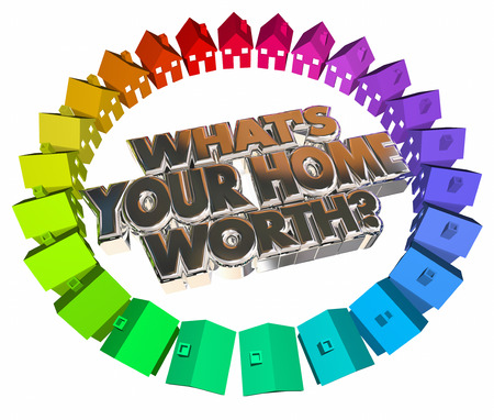 home inspector: Whats Your Home Worth House Value Real Estate Asset 3d Words Stock Photo