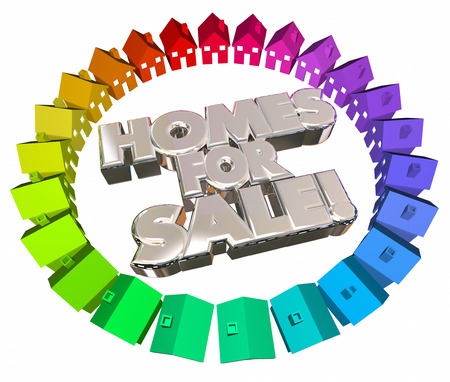 listings: Homes for Sale Houses Real Estate Selling Moving Relocation 3d Words Stock Photo