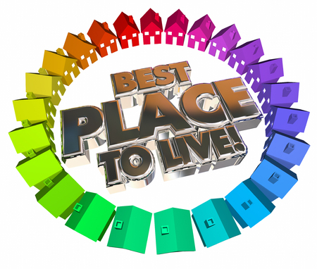 better living: Best Place to Live Homes Houses Neighborhood Community 3d Words Stock Photo