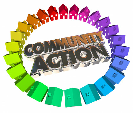 social actions: Community Action Houses Homes Neighborhood Meeting Group 3d Words Stock Photo