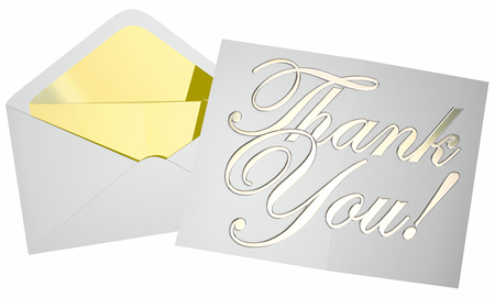 recognizing: Thank You Note Message Letter Envelope Opening 3d Words Stock Photo