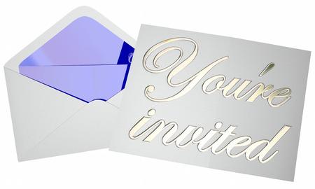 Youre Zaproszenie Zaproszenie Koperta Wydarzenie Party Open Note Message
