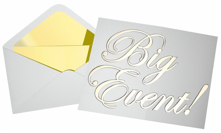 opening party: Big Event Party Bash Celebration Invitation Envelope Opening Words
