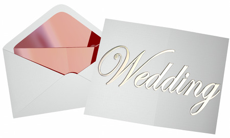invited: Wedding Invitation Opening Envelope Ceremony Reception Invited Guest Stock Photo
