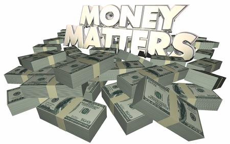 apilar: Cuestiones de dinero en efectivo Pilas Pilas asesoramiento financiero Invertir palabras 3d Foto de archivo
