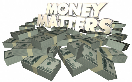 stacks: Money Matters Cash Piles Stacks Financial Advice Investing 3d Words