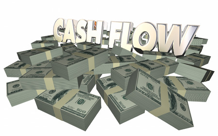 earnings: Cash Flow Money Piles Stacks 3d Words Income Earnings Finances Stock Photo