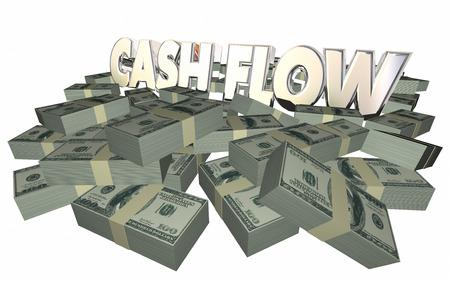 ganancias: Flujo de caja del dinero Pilas Pilas de las palabras 3d ingresos Ganancias Finanzas Foto de archivo