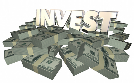 stock trader: Invest Grow Wealth Money Income Earnings Get Rich 3d Word Stock Photo