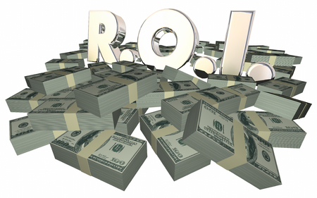 allocate: ROI Return On Investment Money Stacks Piles Grow Wealth Income 3d Stock Photo