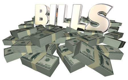 owed: Bills Paying Invoice Money Owed Payment Cash Piles Stacks 3D