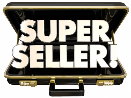 unveil: Super Seller Briefcase 3d Words Best Popular Product Deal Stock Photo