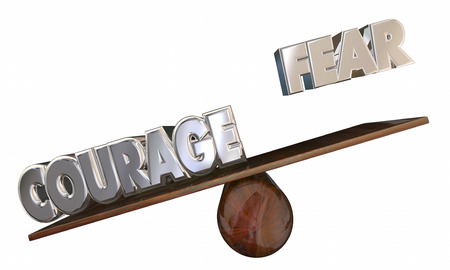see saw: Courage Vs Fear See Saw 3d Words Overcome Afraid Feeling