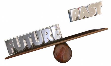 Pasado Vs futuros palabras 3d balancín progreso delantero Innovación Foto de archivo
