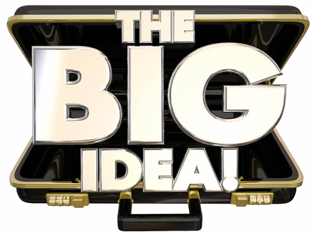 unveiling: The Big Idea Concept Proposal 3d Words Briefcase Opening