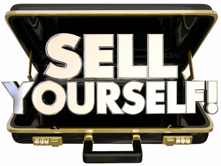 yourself: Sell Yourself Briefcase Self Promotion Success 3d Words