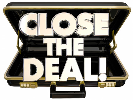 Close the Deal Briefcase 3d Words Sales Success