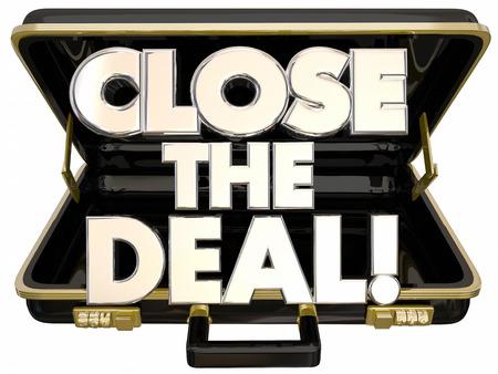 Close the Deal Briefcase 3d Words Sales Success