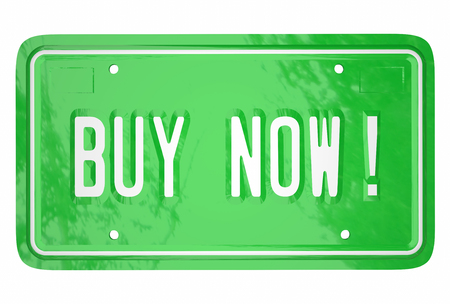 Buy Now Car Vehicle Automobile Customer Shopping License Plate