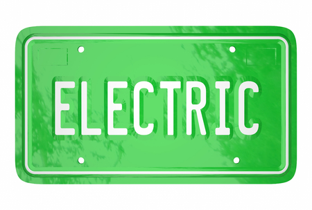 petrol powered: Electric Car License Plate Automotive Green Technology 3d Word Stock Photo
