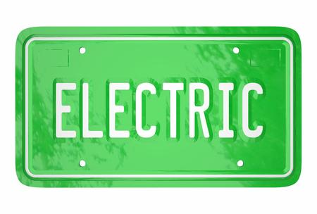 Electric Car License Plate Automotive Green Technology 3d Word Stock fotó