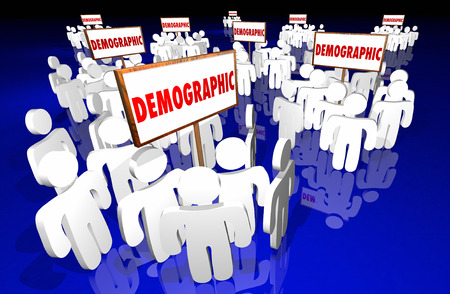 demographic: Demographic Niche Target Market Groups Community 3d Signs Stock Photo
