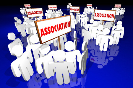 lobbyists: Association Groups People Meeting Club Membership Signs 3d Stock Photo