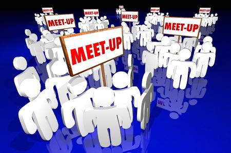 meetup: Meet-Up Groups People Gathering Clubs Social Communities SIgns 3d