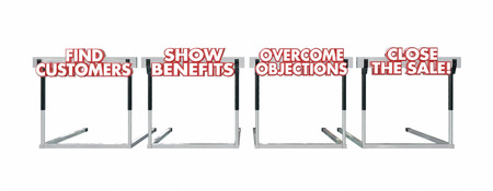 objections: Find Customers Close the Sale Hurdles Selling Process 3d Words