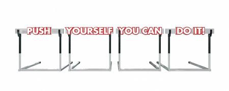 hurdles: Push Yourself You Can Do It Jumping Hurdles Goal Success 3d