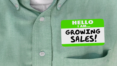 nametag: Growing Sales Selling Success Name Tag Sticker Words Business Leader