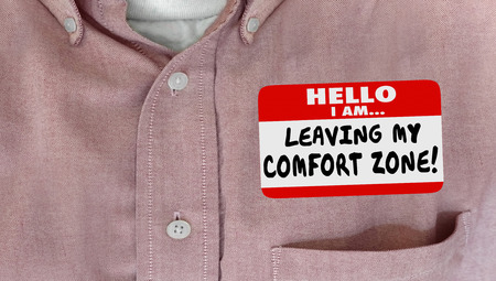 Leaving My Comfort Zone Safe Secure Take Risk Nametag 스톡 콘텐츠