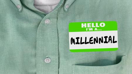 millennial: Hello I am a Millennial Generation Y Nametag Sticker Word