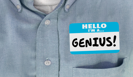 Genius Smart Intelligent Educated Name Tag Sticker Word Shirt Imagens
