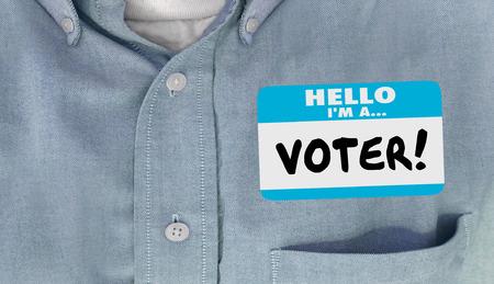 こんにちは私は有権者選挙政治デリゲート名タグ t シャツ