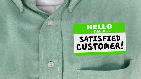 satisfied customer: Satisfied Customer Happy Client Nametag Shirt Words Stock Photo