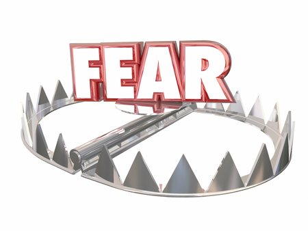 cowardice: Fear Afraid Danger Scared Warning Bear Trap Word 3d Stock Photo