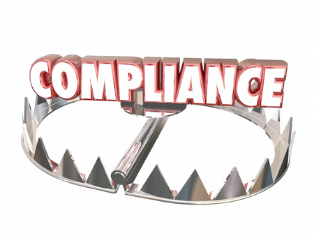 noncompliance: Compliance Rules Regulations Bear Trap Legal Risk 3d Word