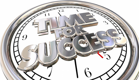 urging: Time for Success Clock Words Winning Career Job Competition 3d