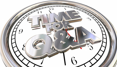 urging: Time for Q and A Questions Answers Ask Information Clock 3d Words