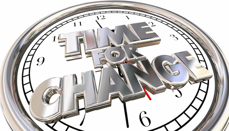 urging: Time for Change Words Adapt Innovate Evolve Clock 3d