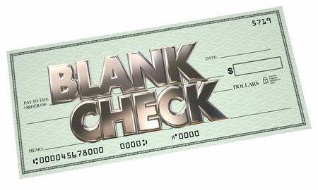 cheque en blanco: Verificación en blanco las palabras 3d Dinero Oportunidad gratuito Hacer obtener ingresos