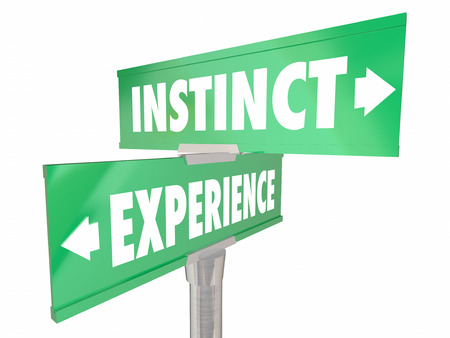 instinct: Instinct Vs Experience Gut Feeling Learned Knowledge 2 Two Way Signs Words