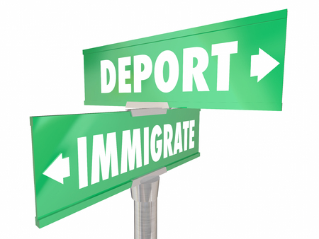 citizens: Immigrate Vs Deport New Citizens Enter Country Two Way 2 Road Signs