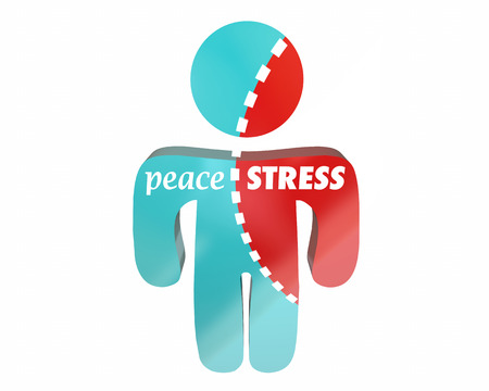 Peace Vs Stress persoon Torn Worry Work Health Hurting Stockfoto