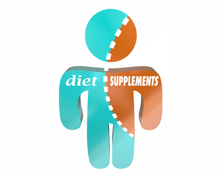 conflicted: Diet Supplements Health Nutrition Vitamins Body Wellness Person Words Stock Photo