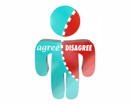 conflicted: Agree Vs Disagree Person Torn Choose Yes No Answer Words