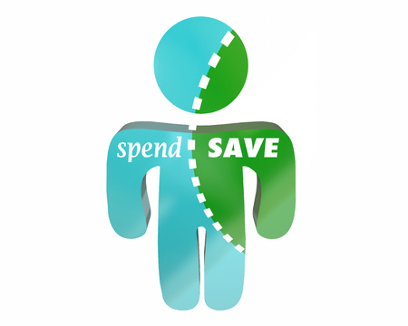 budgeting: Spend Vs Save Budgeting Money Cash Income Earnings Shopping Discipline Words Person