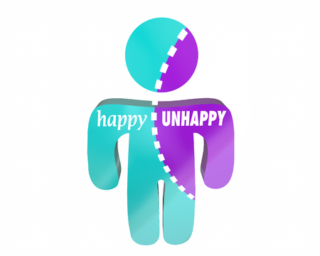 conflicted: Happy Vs Unhappy Joy Emotions Sad Anger Person Bipolar Disorder 3d Words