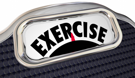 work less: Exercise Word Scale Physical Fitness Lose Weight Active Lifestyle Regimen Stock Photo